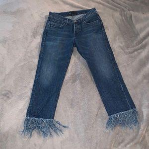 Frayed Bottom Blue Jeans